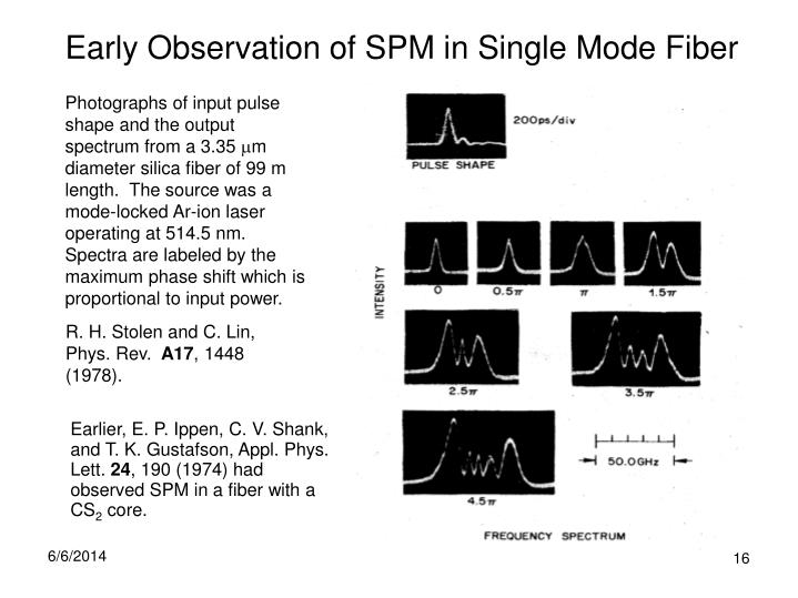 Early Observation of SPM in Single Mode Fiber