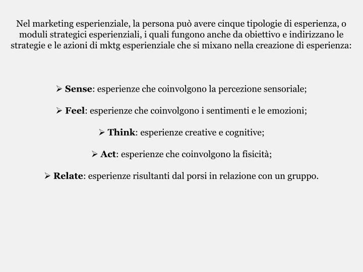 Nel marketing esperienziale, la persona può avere cinque tipologie di esperienza, o moduli strategici esperienziali, i quali fungono anche da obiettivo e indirizzano le strategie e le azioni di mktg esperienziale che si mixano nella creazione di esperienza: