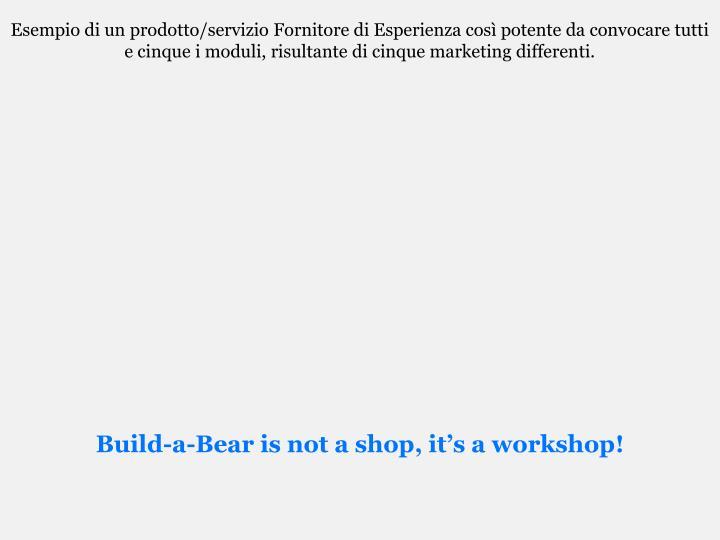 Esempio di un prodotto/servizio Fornitore di Esperienza così potente da convocare tutti e cinque i moduli, risultante di cinque marketing differenti.