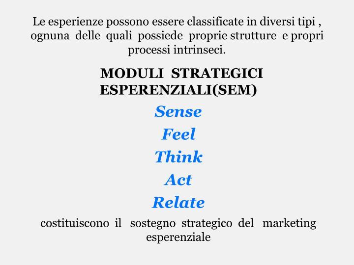 Le esperienze possono essere classificate in diversi tipi , ognuna  delle  quali  possiede  proprie strutture  e propri processi intrinseci.