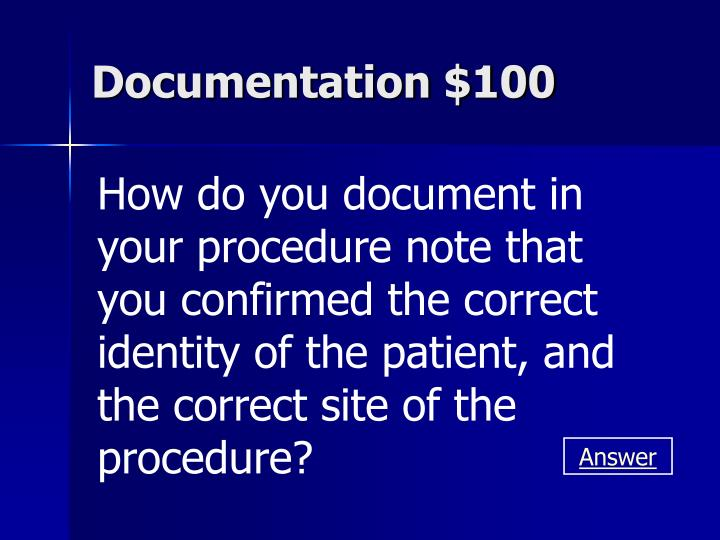 Documentation $100