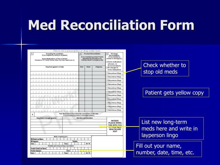 Med Reconciliation Form