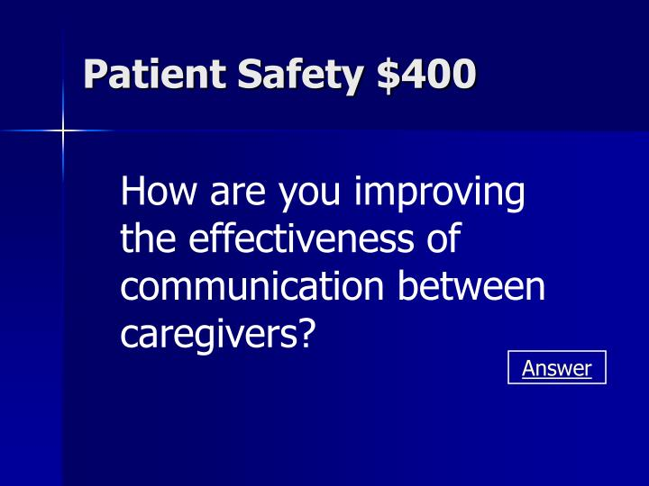Patient Safety $400