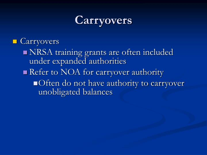 Carryovers