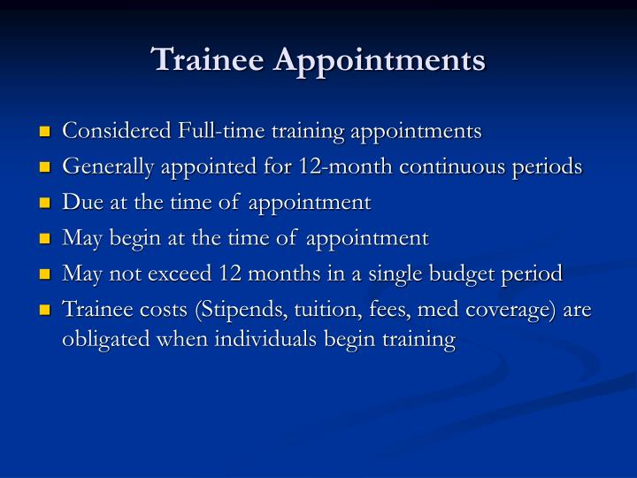 Trainee Appointments