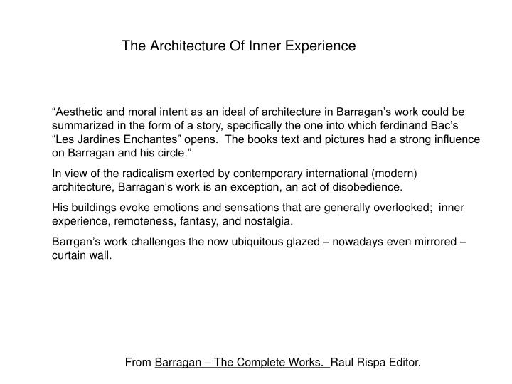 The Architecture Of Inner Experience