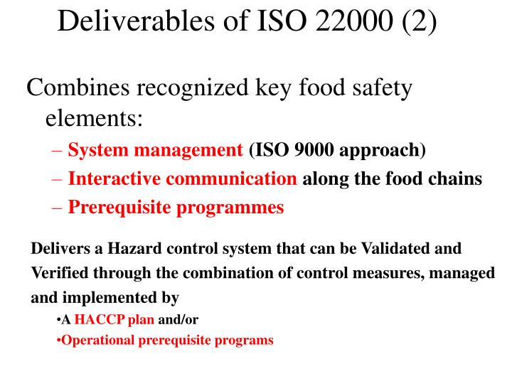 Deliverables of ISO 22000 (2)
