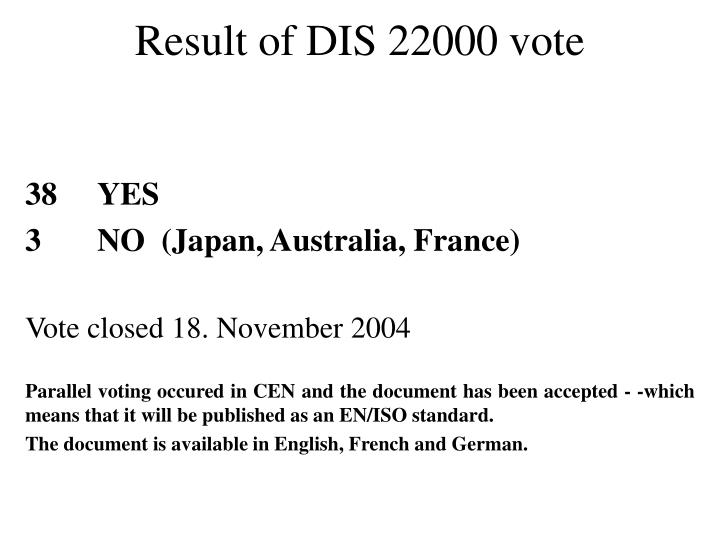 Result of DIS 22000 vote