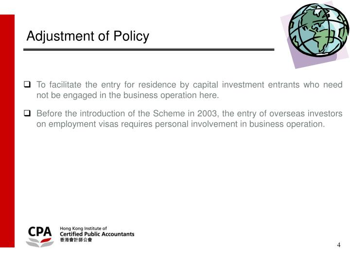 Adjustment of Policy