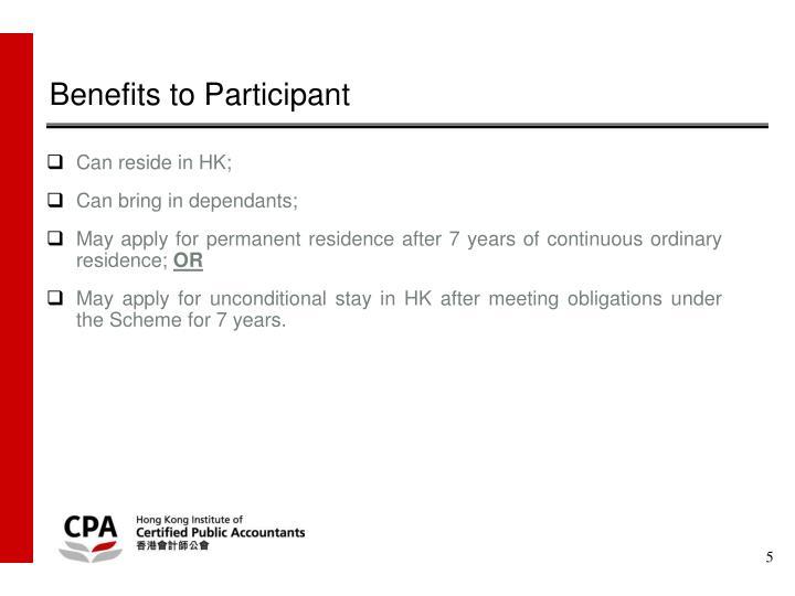 Benefits to Participant