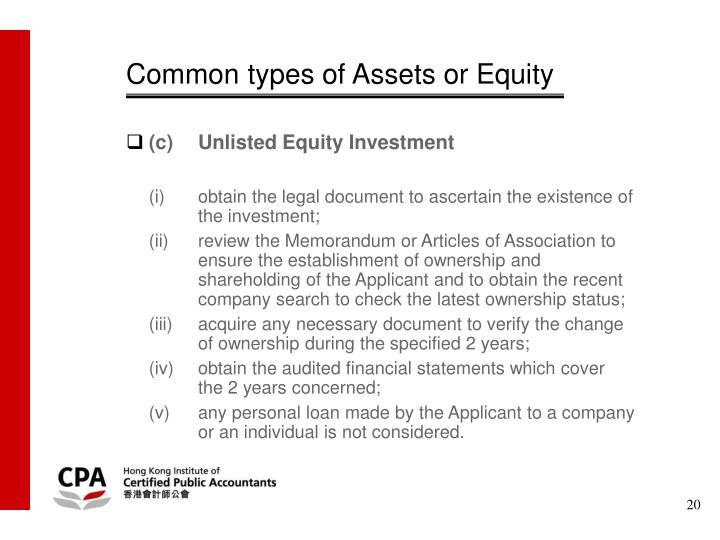 Common types of Assets or Equity