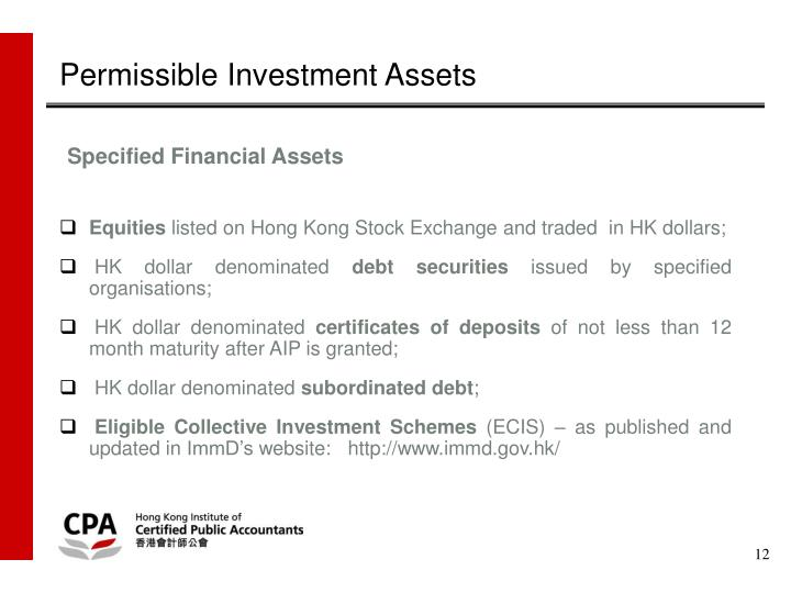 Permissible Investment Assets