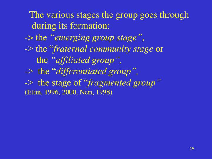 The various stages the group goes through