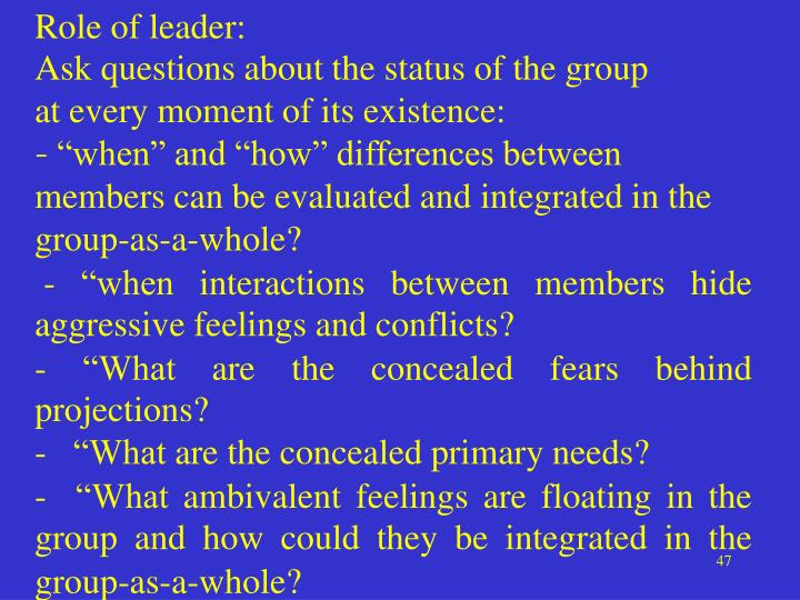 Role of leader:
