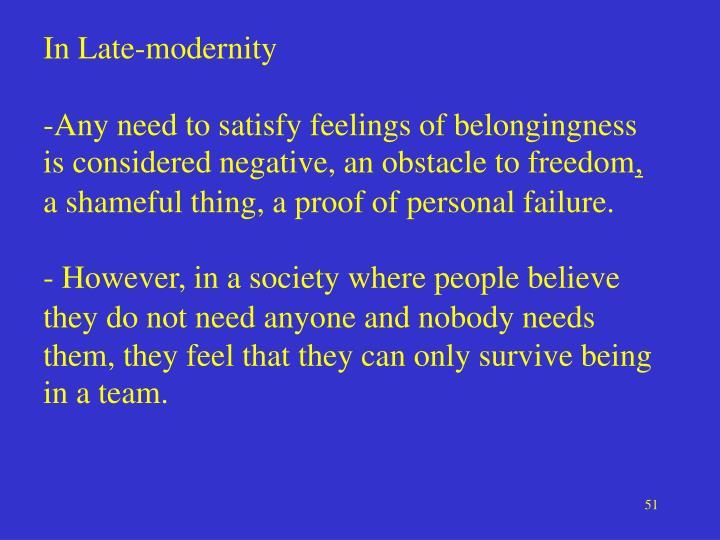 In Late-modernity