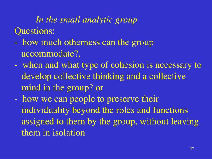 In the small analytic group