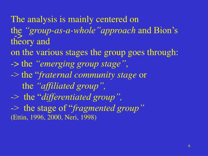 The analysis is mainly centered on