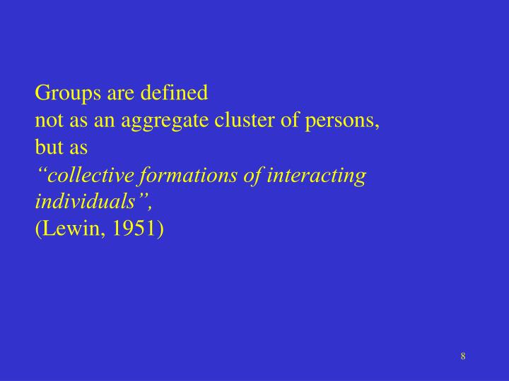 Groups are defined