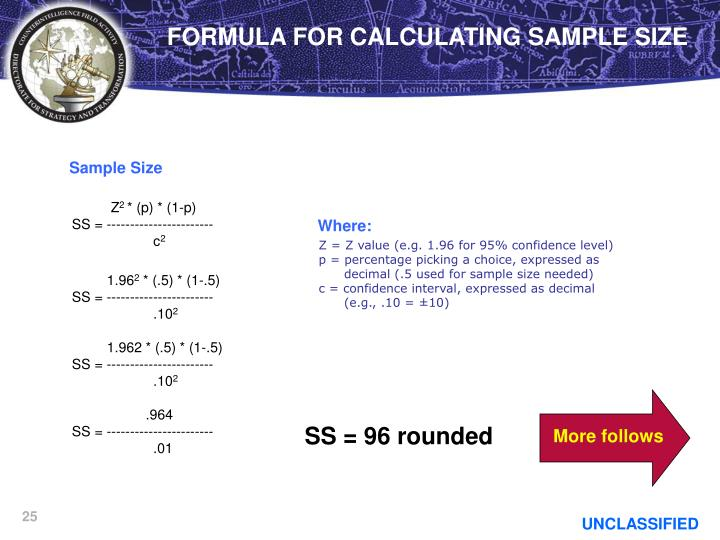 FORMULA FOR CALCULATING SAMPLE SIZE
