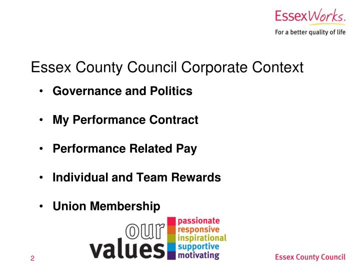 Essex county council corporate context