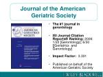 journal of the american geriatric society