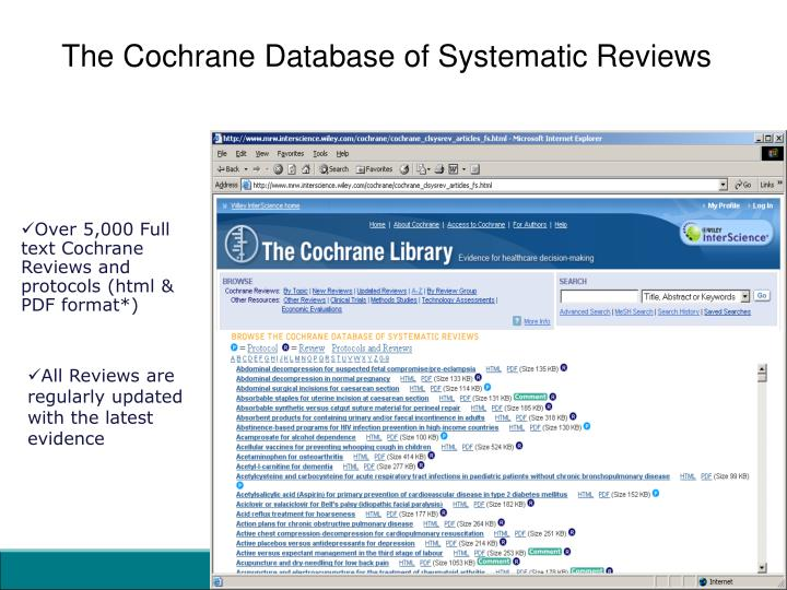 The Cochrane Database of Systematic Reviews