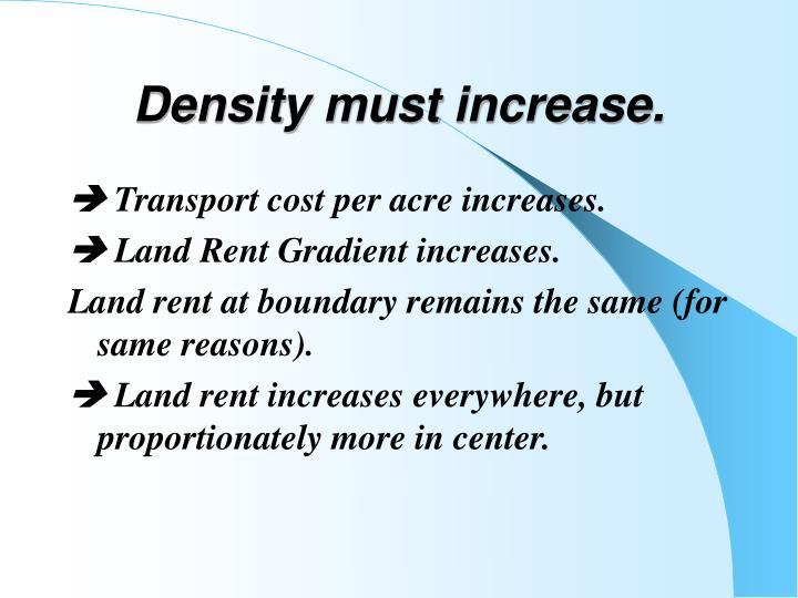Density must increase.