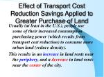 effect of transport cost reduction savings applied to greater purchase of land