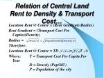 relation of central land rent to density transport cost