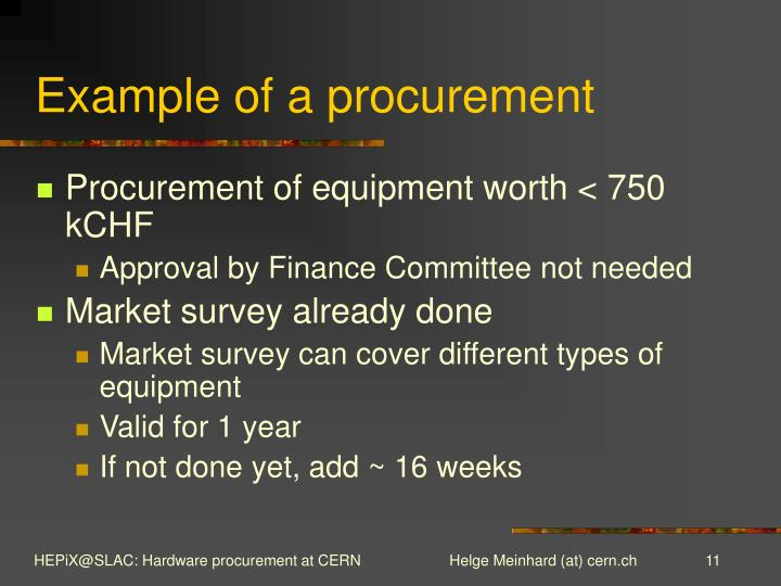Example of a procurement