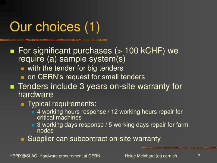 Our choices (1)