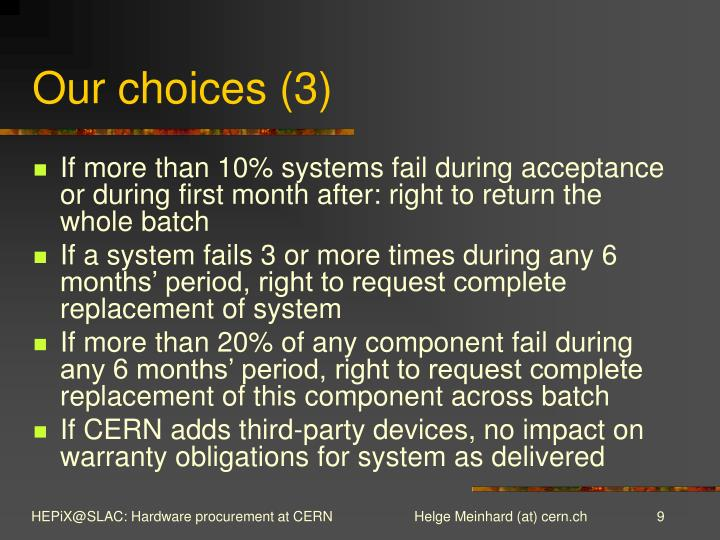 Our choices (3)