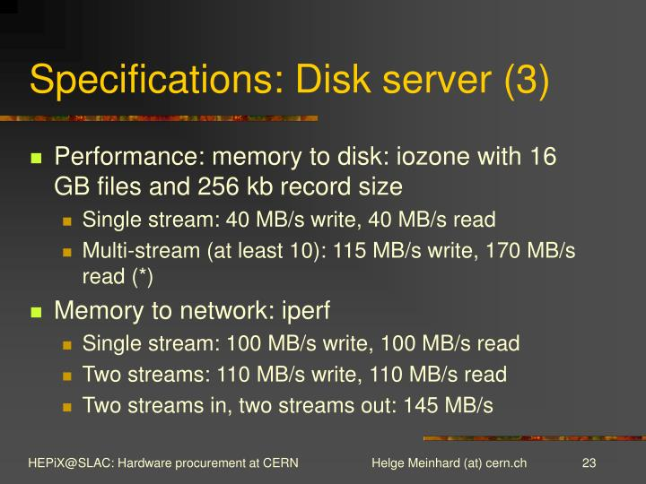 Specifications: Disk server (3)