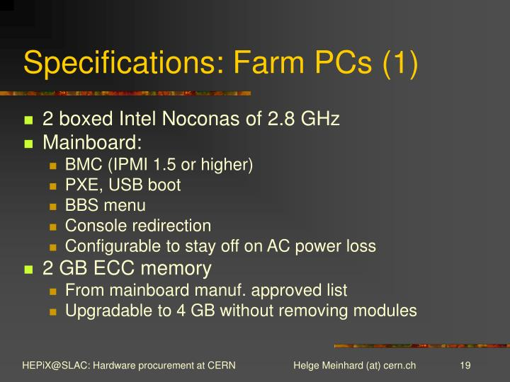 Specifications: Farm PCs (1)