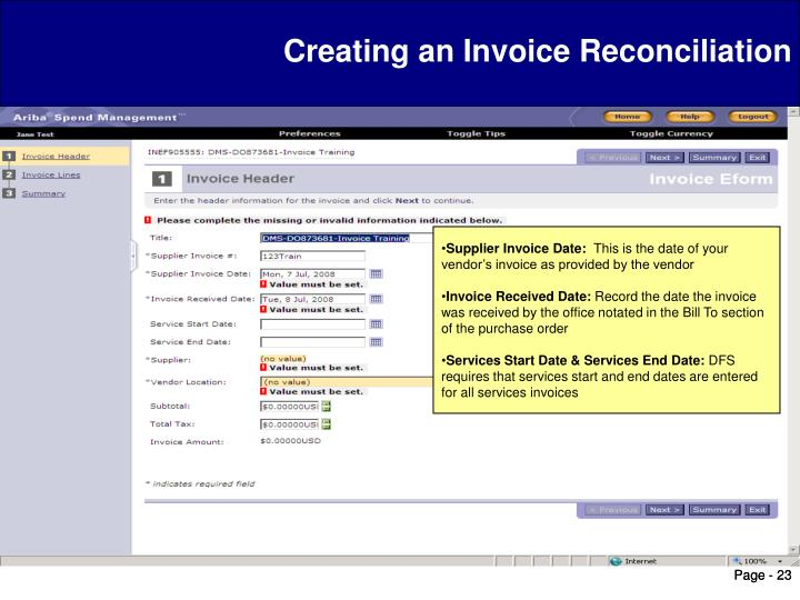 Creating an Invoice Reconciliation