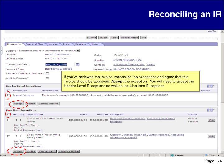 Reconciling an IR