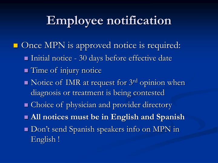 Employee notification