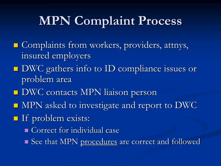 MPN Complaint Process