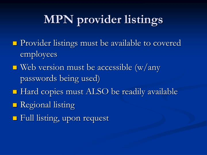 MPN provider listings