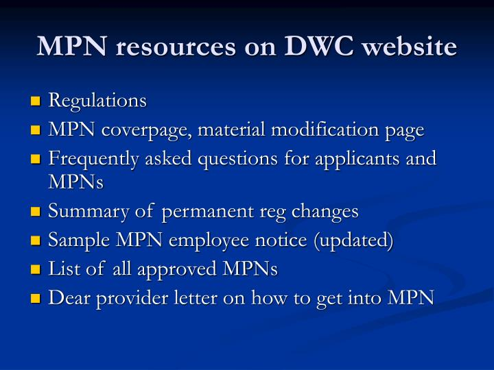 MPN resources on DWC website