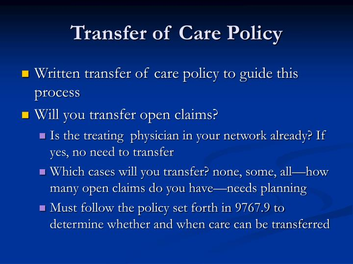 Transfer of Care Policy