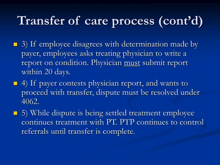 Transfer of care process (cont'd)