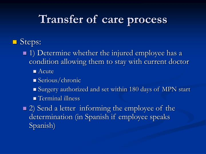 Transfer of care process