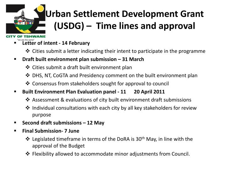 Urban Settlement Development Grant (USDG) –  Time lines and approval