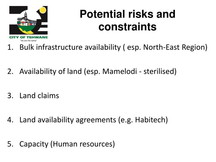 Potential risks and constraints