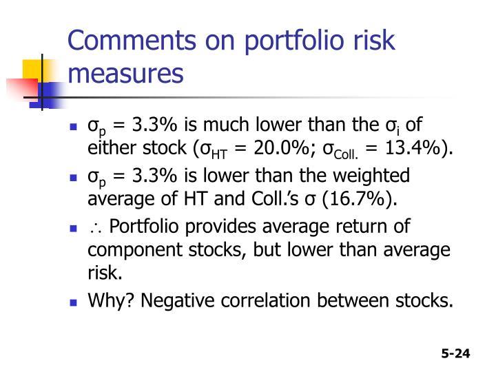 Comments on portfolio risk measures
