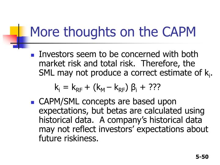 More thoughts on the CAPM