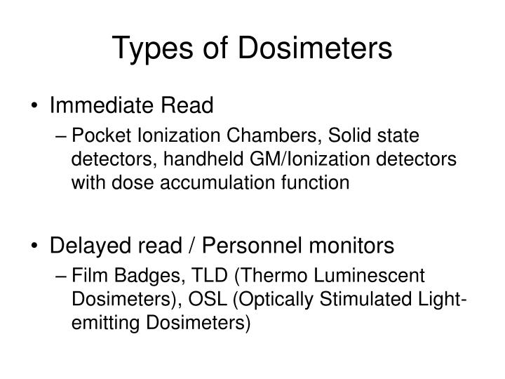 Types of Dosimeters