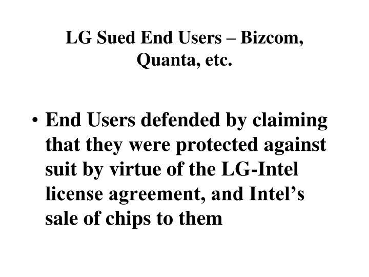 LG Sued End Users – Bizcom, Quanta, etc.