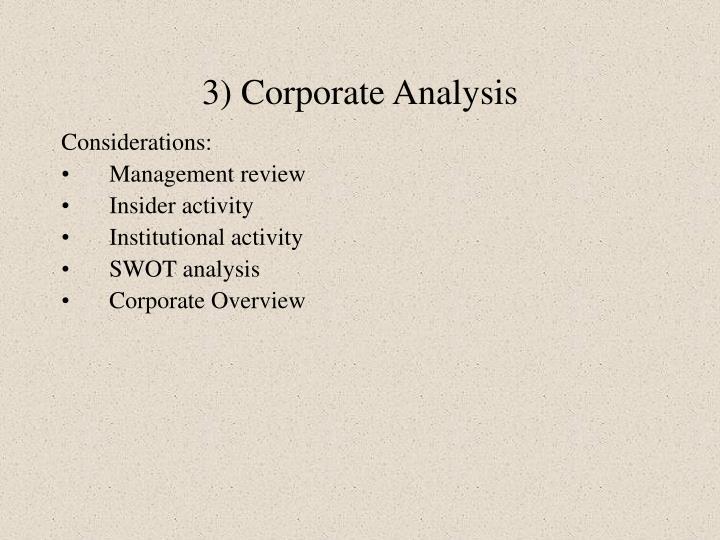 3) Corporate Analysis